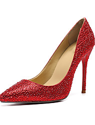 cheap -Women's Shoes Cowhide Fall & Winter Basic Pump Wedding Shoes Stiletto Heel Pointed Toe Sparkling Glitter Red / Party & Evening