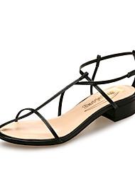 baratos -Mulheres Sapatos Microfibra Primavera Verão Conforto Sandálias Salto Baixo Branco / Preto / Vermelho / Casamento / Festas & Noite