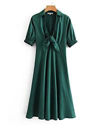 baratos -Mulheres Evasê Vestido Decote V Longo