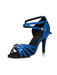 cheap -Women's Latin Shoes Satin Sandal Rhinestone Slim High Heel Dance Shoes Blue