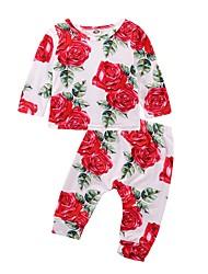 abordables -bébé Fille Actif / Basique Quotidien / Sports Imprimé Manches Longues Longue Coton / Polyester Ensemble de Vêtements Blanc