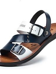 billige -Herre Syntetisk læder Sommer Komfort Sandaler Farveblok Hvid / Blå