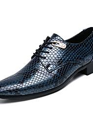 Недорогие -Муж. Легкие подошвы Наппа Leather / Искусственная кожа Осень Английский Туфли на шнуровке Черный / Синий