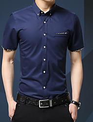 Недорогие -Муж. Офис Пэчворк Рубашка Тонкие Деловые Однотонный Черное и белое / С короткими рукавами
