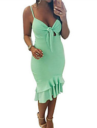 cheap -Women's Holiday Slim Trumpet / Mermaid Dress - Solid Colored Strap