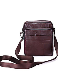 cheap -Men's Bags Cowhide Shoulder Bag Zipper Black / Brown