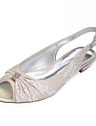 cheap -Women's Shoes Lace Spring Comfort / Slingback Wedding Shoes Flat Heel Peep Toe Rhinestone Silver / Champagne / Ivory / Party & Evening
