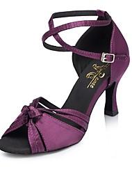 """Недорогие -Жен. Обувь для латины Сатин Сандалии Каблук """"Клеш"""" Танцевальная обувь Лиловый"""