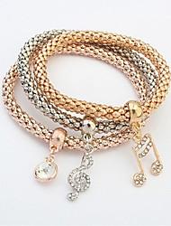 cheap -Women's Layered Chain Bracelet - Music Notes Fashion, Multi Layer Bracelet Gold For Ceremony / School / 3pcs