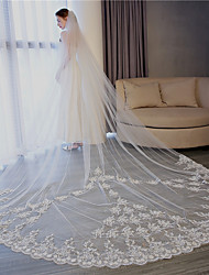 cheap -One-tier Fashionable Jewelry / Flower Style / Mesh Wedding Veil Chapel Veils with Scattered Bead Floral Motif Style 118.11 in (300cm) Tulle / Angel cut / Waterfall