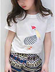 Недорогие -Дети Девочки Фламинго Однотонный / С принтом С короткими рукавами Футболка