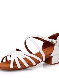 cheap -Girls' Latin Shoes Satin Sandal Thick Heel Customizable Dance Shoes White / Black / Dark Brown