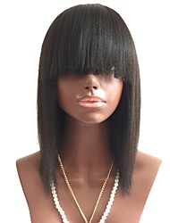 Недорогие -человеческие волосы Remy Лента спереди Парик Стрижка боб Короткий Боб С чёлкой стиль Бразильские волосы Прямой Черный Парик 130% Плотность волос с детскими волосами Жен. Короткие