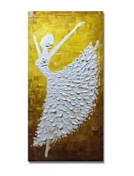 Недорогие -styledecor® современная ручная роспись абстрактная танцевальная девушка в белом платье масляная живопись настенная живопись на обернутом холсте