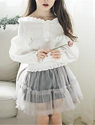 preiswerte -Kinder Mädchen Aktiv Solide Langarm Baumwolle Bluse