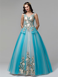 cheap -Princess V Neck Floor Length Lace / Tulle Formal Evening Dress with Embroidery by TS Couture®