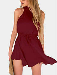 cheap -Women's Basic A Line Dress - Solid Colored Backless