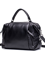 cheap -Women's Bags Cowhide Tote / Shoulder Bag Zipper Black