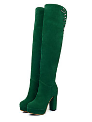 cheap -Women's Shoes Suede Fall & Winter Fashion Boots Boots Chunky Heel Round Toe Over The Knee Boots Rivet Brown / Green / Dark Green / Party & Evening