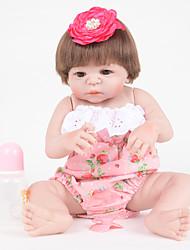 Недорогие -FeelWind Куклы реборн Девочки 22 дюймовый Полный силикон для тела - как живой, Искусственная имплантация Коричневые глаза Детские Девочки Подарок