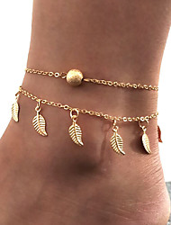 cheap -Layered / Tassel Ankle Bracelet - Leaf Simple, Tassel, Trendy Gold / Silver For Gift / Street / Holiday / Women's