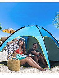 cheap -4 person Beach Tent Single Layered Poled Camping Tent One Room  Outdoor Lightweight <1000 mm  for Beach Terylene 210*210*130 cm / Rain-Proof