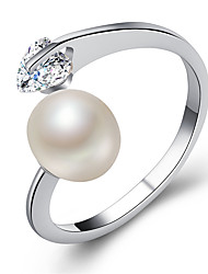 cheap -Couple's Cubic Zirconia Couple Rings / Engagement Ring - Imitation Pearl, Alloy Heart Fashion, Elegant Adjustable Gold / Silver / Rose Gold For Wedding / Valentine