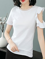 billige -Tynd Dame - Ensfarvet Bomuld I-byen-tøj T-shirt / Sommer