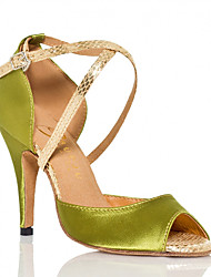 baratos -Mulheres Sapatos de Dança Latina Cetim Têni Estampa Animal Salto Alto Magro Sapatos de Dança Verde / Roxo Escuro