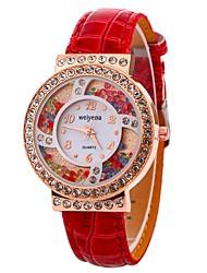 cheap -Xu™ Women's Dress Watch Wrist Watch Quartz Creative Casual Watch Imitation Diamond PU Band Analog Casual Fashion Black / White / Blue - Red Blue Pink One Year Battery Life / Large Dial