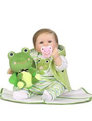 Недорогие -NPKCOLLECTION Куклы реборн Девочки 24 дюймовый Подарок Очаровательный Искусственные имплантации Голубые глаза Детские Девочки Игрушки Подарок
