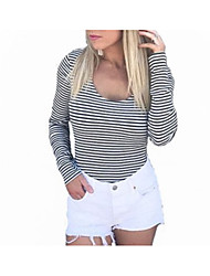 cheap -Women's Going out Basic Slim T-shirt - Striped Lace up / Print Off Shoulder / Summer