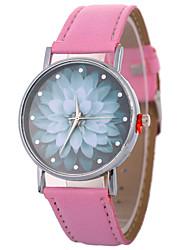 abordables -Xu™ Mujer Reloj de Vestir / Reloj de Pulsera Chino Creativo / Reloj Casual / La imitación de diamante PU Banda Flor / Moda Negro / Blanco / Azul / Esfera Grande / Un año