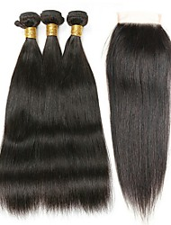 cheap -3 Bundles with Closure Peruvian Hair Straight Human Hair Hair Weft with Closure 8-22 inch Human Hair Weaves 4x4 Closure Best Quality / Lace Closure Natural Color Human Hair Extensions Women's
