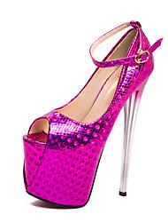abordables -Mujer Zapatos PU Otoño invierno Pump Básico Tacones Tacón Stiletto Punta abierta Hebilla Dorado / Fucsia / Azul / Boda / Fiesta y Noche