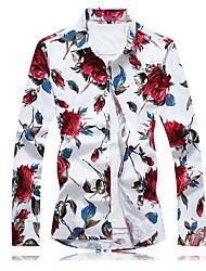 economico -Camicia Per uomo Fantasia floreale Cotone / Si prega di scegliere una taglia più grande di una misura, rispetto alla solita.