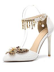 baratos -Mulheres Sapatos Couro Ecológico Primavera Verão D'Orsay Sapatos De Casamento Salto Agulha Dedo Apontado Laço / Pérolas / Gliter com