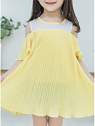 cheap -Kids Girls' Solid Colored / Patchwork Short Sleeve Dress