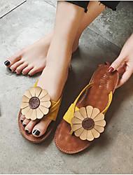 baratos -Mulheres Sapatos Náilon Verão Conforto Chinelos e flip-flops Sem Salto Dedo Aberto Flor de Cetim Amarelo / Verde / Rosa claro