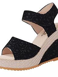 baratos -Mulheres Sapatos Renda / Couro Ecológico Primavera Verão D'Orsay Sandálias Salto Plataforma Dedo Aberto Rendado Preto / Bege