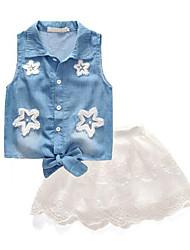 cheap -Kids Girls' Patchwork Sleeveless Clothing Set