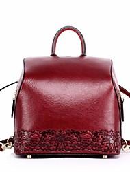 preiswerte -Damen Taschen Leder Rucksack Knöpfe Schwarz / Rote