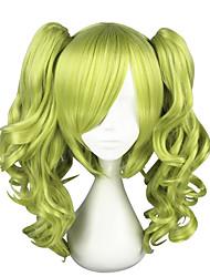 economico -Parrucche per travestimenti Riccio Taglio scalato Capelli sintetici Cosplay Verde Parrucca Per donna Lunghezza media Senza tappo Verde