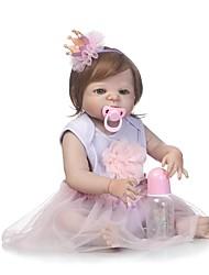 baratos -NPKCOLLECTION Bonecas Reborn Bebês Meninas 24 polegada Silicone de corpo inteiro / Silicone / Vinil - realista de Criança Para Meninas Dom