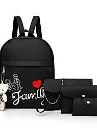 baratos -Mulheres Bolsas PU Conjuntos de saco Conjunto de bolsa de 4 pcs Urso Preto / Rosa / Cinzento