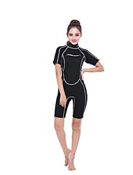 cheap -Women's Shorty Wetsuit 3mm SCR Neoprene Diving Suit Anatomic Design, UV Resistant Short Sleeve Back Zip Solid Colored Autumn / Fall / Spring / Summer