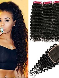 cheap -3 Bundles with Closure Malaysian Hair Curly Human Hair Natural Color Hair Weaves / Hair Bulk / Extension / Hair Weft with Closure 8-22 inch Black Natural Color Human Hair Weaves 4x4 Closure Best