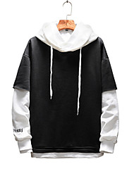 cheap -Men's Sports Long Sleeve Loose Hoodie - Solid Colored / Color Block / Letter, Split Hooded