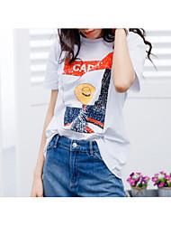 baratos -Mulheres Camiseta - Para Noite Letra / Retrato Algodão / Verão