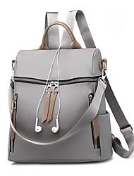 cheap -Women's Bags Canvas / PU(Polyurethane) Backpack Zipper Black / Gray
